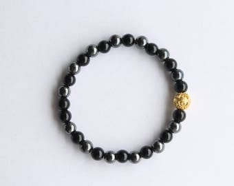 Men's Bracelet, Black Onyx, Hematite with Gold Bali Bead