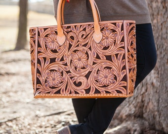 Floral Tan Tote Bag, 100% Leather, FREE SHIPPING!