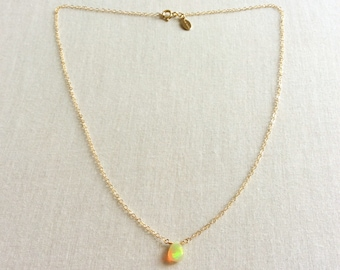 Ethiopian Opal Necklace, Opal Necklace Gold, Opal Jewelry, Tiny Opal Necklace, October Birthstone, Fire Opal Necklace, Opal Jewellry, BN10