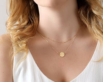 Gold Circle Necklace - Personalized Hammered Disc - Monogram Circle Disc Necklace - Suspended Circle Necklace