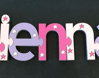 Dark Pink, Lilac and Light Pink Jigsaw Design Name (PRICE PER LETTER)