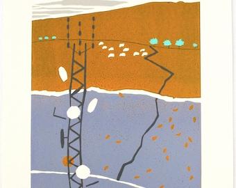 Talking Tree, reduction lino cut by Jess Davies. Dartmoor, comunications pylon