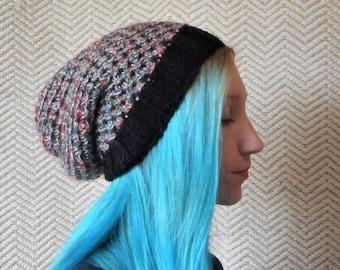 Knitted slouchy hat, Slouch beanie hat, Boho tam, dreadlocks hat, alternative fashion, goth grunge, woolly hat, Kwirky Knits UK