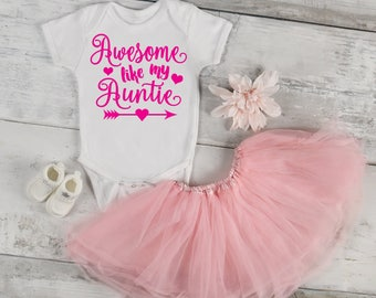 Awesome Like My Auntie Baby One Piece Bodysuit Toddler Tee T Shirt Creeper Romper Birthday Baby Shower Novelty Funny
