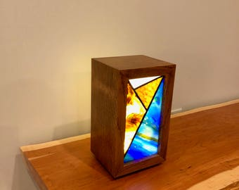 Tiger Oak and  Stained Glass Case Light (medium, rectangle)