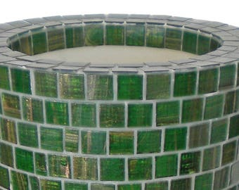 Luminous vase covered with mosaic in glass paste, design made in Italy_col. Emerald Green