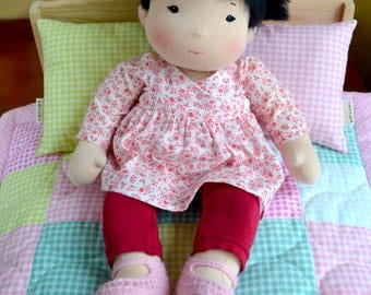 "14"" (36 cm) Waldorf Asian Baby Doll. Steiner doll-cloth doll-waldorfpuppe-handmade doll-soft rag doll-girl gift-asian girl"