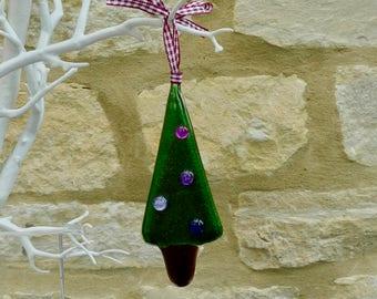 Fused glass Christmas decoration - Christmas ornament - Fused glass christmas tree - tree decoration
