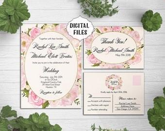 DIGITAL, Blush flower Wedding Invitation, Peonies, Roses, wedding invitation, Flower invite, wedding invitation, spring wedding invitation