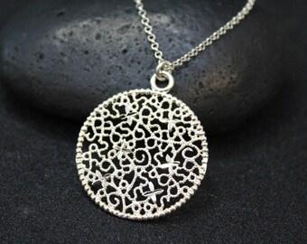 Sterling Silver Filigree Circle Pendant, Filigree Silver Jewelry, Sterling Silver Disk Pendant, Sterling Silver Filigree Necklace