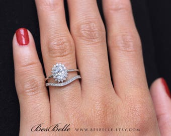 1.31 ct.tw Oval Halo Bridal Set Ring-Oval Cut Diamond simulant-Bridal Ring-Wedding Ring-Solid Sterling Silver [65465-2]