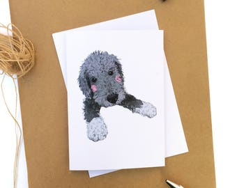 Bedlington Terrier Puppy Greetings Card - Bedlington Terrier - Bedlington Card - Dog Greeting Cards - Dog Gift Card - Blank Greeting Cards