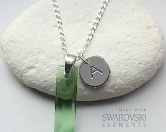Peridot Necklace - Swarovski Peridot Necklace Sterling Silver - Personalised - August Jewelry Jewellery - August Birthstone Necklace  - B8