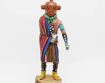 native american,navajo,native american art,the crow and the cactus,navajo art,katsinas,kachina,wood carving,mudhead, Navajo Mudhead Kachina