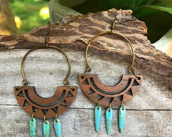 Wooden Earrings - Aztec Suns