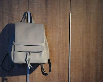 Minimal Leather Backpack. leather backpack for women, gray leather backpack, backpack for school, leather school bag