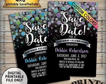"Save the Date for a Birthday Party, B-day Celebration, Custom Color Glitter Invite, Surprise Birthday Save the Date, 4x6"" Digital PRINTABLE"