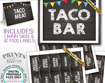 Taco Bar Sign and Labels Build Your Own Taco Station Taco Buffet Mexican Food Labels Chalkboard Style PRINTABLE Sign/Labels Instant Download
