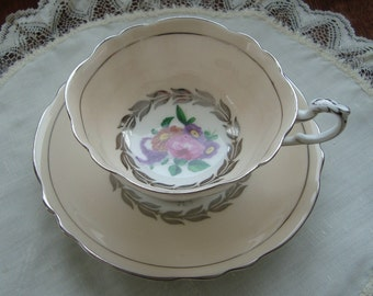 Paragon Fine Bone China England - Vintage Tea Cup and Saucer - Beige Pink Band with Multifloral Bouquet and Silver Design and Trim