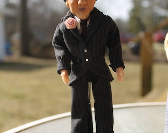 OOAK Miniature 1/12th scale miniature collectable doll senior citizen gangster