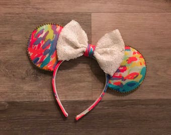 Ready to Ship PALM BEACH CORAL Preppy Minnie Park Disney Ears Lilly  Fabric