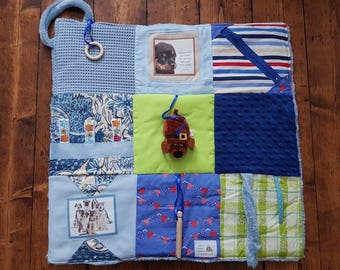 Fidget Blanket - Alzheimer's Lap Blanket with dog lovers in mind. Dementia fiddle blanket in shades of blue - Dogs make our lives whole.