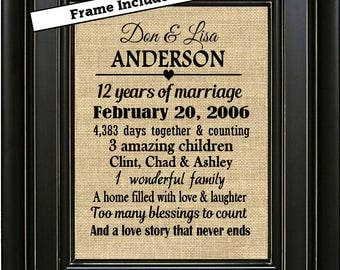 FRAMED Personalized 12th Wedding Anniversary Gift/12th Anniversary Gifts/12 years of Marriage/Gifts for wife/Gifts for Husband/Gift for him
