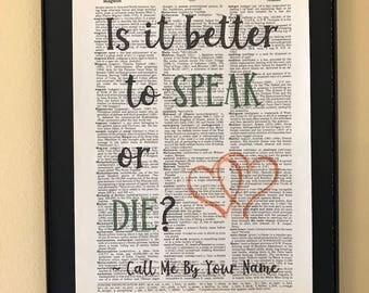 Is it better to speak or die?; Call Me By Your Name; LGBTQ; Pride; Page Art