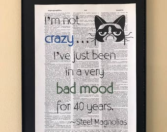 I'm not crazy, I've just been in a very bad mood for 40 years; Steel Magnolias; Dictionary Print; Page Art;