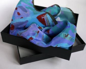 Turquoise Silk Pocket Square / Pocket Handkerchief / Bridegroom Gift /  Handkerchief / Pocket Scarf / Suit Pocket Square / Silk Handkerchief