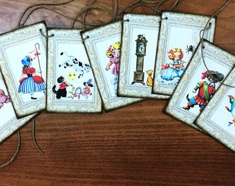 Hey Diddle Diddle Party Banner Jute String Inked Chipboard Mounted Inked Edges Vintage Ecru Three Little Pigs Nursery Rhyme Mother Goose