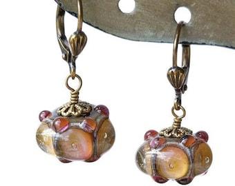 Pink Bubble Earrings/ Lampwork Earrings/ Apricot Earrings
