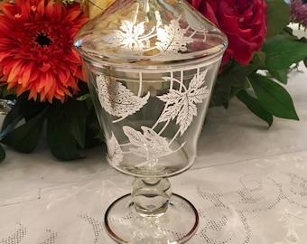 Glass Apothecary Jar, Vintage Glass Apothecary Jar, Sterling Silver Overlay, Vintage Glass Apothecary Jar, Autumn Leaves, Candy Jar