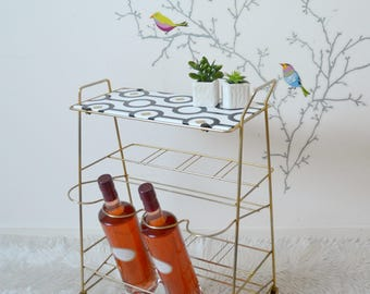 Vintage bar shelf, side table, console, wire metal tray, white, black, gold