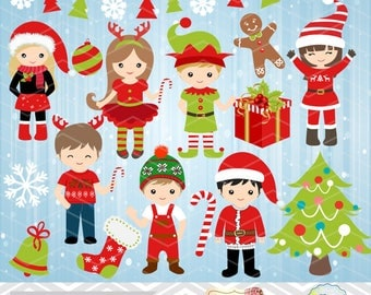 Christmas Digital Clip Art, Christmas Boys Clip Art, Christmas Girls Clip Art, Instant Download Christmas Kids Clip Art, Red and Green 0209