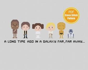 Star Wars Cross stitch Pattern - PDF file Instant Download - Chewy Han Solo Princess Leia Crossstitch