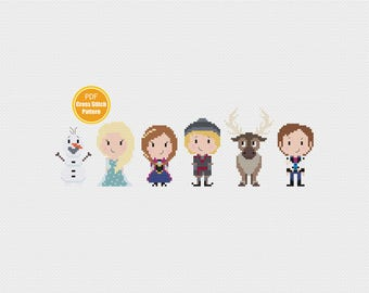 Frozen Cross stitch Pattern -  PDF file Instant Download - Disney Frozen Crosstitch Pattern - Elsa Anna - Olaf - Kristoff - Sven - Let it Go