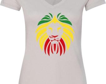 Ladies Rasta Lion Head V-Neck Shirt LIONHEAD-N1540