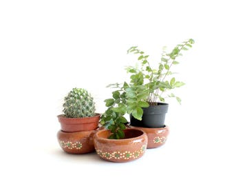 Mexican Herb Pot, Clay Plant Holder, Glazed Terra-cotta Planter