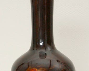 Vintage Japanese wooden lacquered vase, decorated with gold fish - Wajima-nuri lacquerware