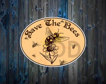 Save The Bees Decal Sticker Vinyl Honey Flowers Nature Food Cute Hippy Laptop