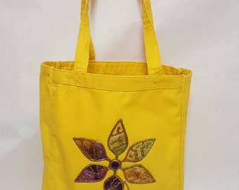 Embellished Canvas Tote Bag With Flower