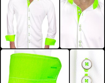 White with Neon Green Moisture Wicking Dress Shirt - Made in USA