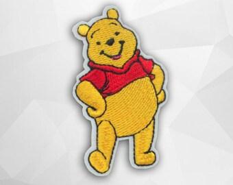 Winnie The Pooh Iron on Patch(M2)-Cartoon Bear, Cartoon Disney Applique Embroidered Iron on Patch-Size 4.4(W)x7.8(H)cm