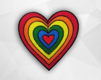 Rainbow Heart Iron on Patch(L1) - Heart Applique Embroidered Iron on Patch Size 6.7x6.9 cm