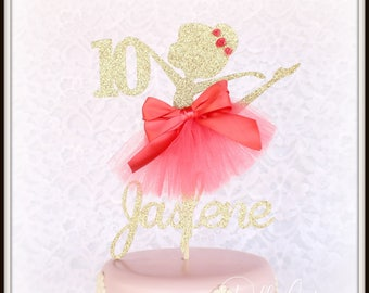 Coral Ballerina, ANY NAME AGE, Any Colors, Ballerina Cake Topper, Ballerina Birthday Party Decorations, Tenth Birthday, Fifth Birthday, Girl