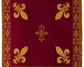 Fleur de Lys tapestry throw - French Decor Blanket - 56x56 Belgian Tapestry Throw - Red chenille throw blanket - TT-07103/77
