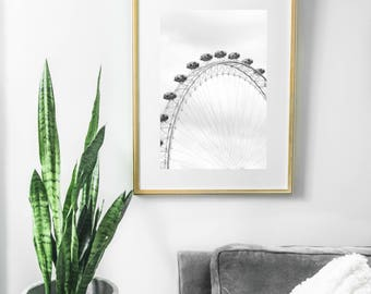 London Eye Wall Art Prints, Travel Photography, England Black and White Decor, Apartment Large Wall Art, White Prints