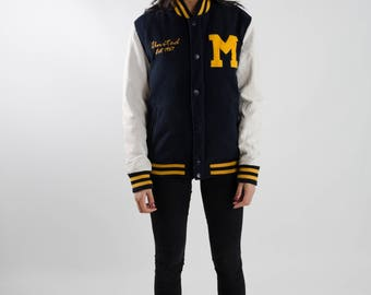 Baseball jacket / Vintage winter jacket / Blue and yellow varsity jacket / Letterman jacket / 90s bomber jacket / Streetwear / Size M