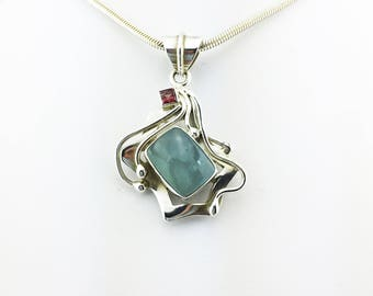 Aquamarine & Pink Tourmaline Pendant Blue and Pink 925 Sterling Silver 15.92 Grams